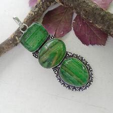 Dichroic Vetro, Verde, glamour, Modern, Amuleto, rimorchio, argento placcato, nuovo