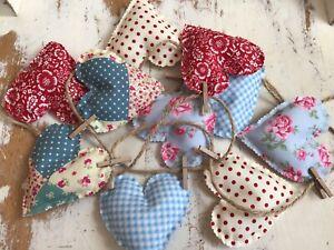 Shabby Chic Heart Bunting Patchwork Flowers Gingham Handmade