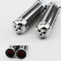 "1"" Chrome Skull Stripe Hand Grips Motorcycle Bike Handle Bar For Harley Softail"