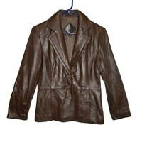Tibor Womens Blazer Brown Button Up Lined Notch Lapel Genuine Leather Jacket S