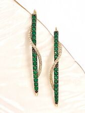 Genuine Emerald & Diamond Pave Solid 10k Yellow Gold Dangle Spike Earrings, New
