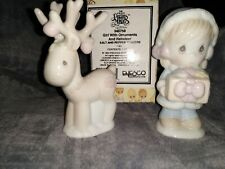 1994 Precious Moments Girl w Ornaments & Reindeer Salt & Pepper Shakers Set