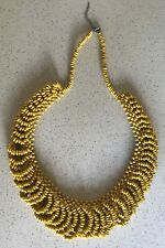 Multi Strand Layer Boho Beaded Statement Necklace Yellow