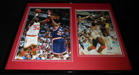 Hakeem Olajuwon Signed Framed 16x20 Photo Set JSA Rockets