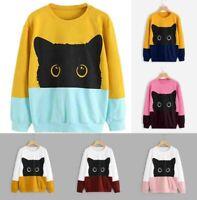 Women Casual Cat Print Long Sleeve Hoodie Sweatshirt Hooded Pullover Tops Blouse