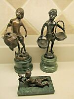 Lot of 3~Vintage Bronze Statue Sculpture,Children with Baskets and Bird EUC