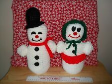 Set of 2 CUTE Crocheted Vintage Handmade Christmas Mr. Mrs. Snowmen Weighted