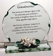 Cellini Gift Grandmother Poem Cut Glass Plaque Unusual Keepsake Memento #8