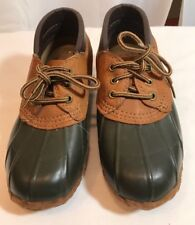 Eddie Bauer Womens sz 6  Rubber Leather Duck Boot Shoes Green Brown Waterproof