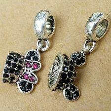 Disney Minnie Mickey CZ Crystal Ear Hat Dangle Beads fit European Charm Bracelet