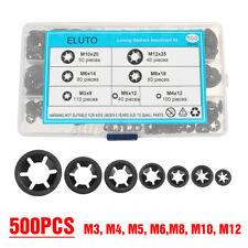 500pc Chiusura a Stella Rondelle Spingere Blocco Star Dado Clip Set M3-M12