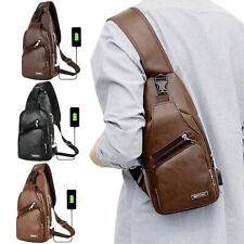 Leather Chest Bag Men USB Charging Backpack Sling Crossbody Chest Pack Business
