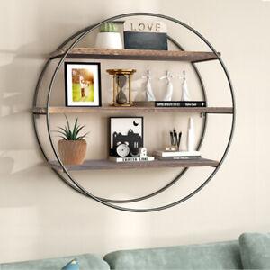 3 Layer Floating Wall Shelves Wood Geometric Decor Shelf Iron Frame Fit Bathroom