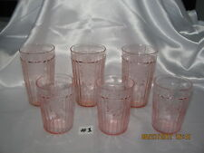 Mayfair Open Rose Pink 3 Flat Water & 3 Flat Iced Tea Tumblers~Glasses 1931-1937
