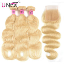 Brazilian 613 Blonde Body Wave 3 Bundles Human Hair Extensions With Lace Closure