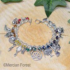 Lotus Witches Chakra Charm Bracelet - Handmade Pagan Jewellery, Wicca, Witch