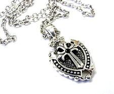 Knights Black Diamond Cross Shield Pendant In Sterling Silver