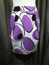 BNWT Max Mara 100% Cotton White Black Purple Skirt UK8 EU36