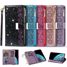For Samsung Note20 S20 FE Ultra S10 Plus Case Leather Wallet Glitter Flip Cover