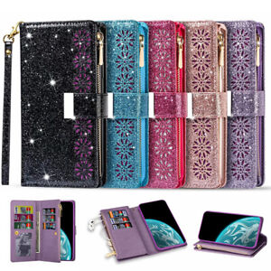 For Samsung S21 S20 FE Note20 Ultra S10 Plus Case Leather Wallet Glitter Cover
