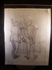 Men Banking 1946-59 Original Ink Sketch by C. Schattauer Kelm