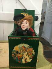 "Dept 56 Dickens Christmas Carol Cratchit/Tiny Tim Musical Box Wood 8""Hx6""W"