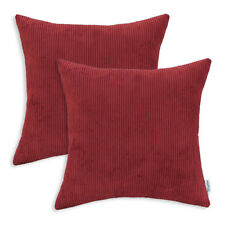 """2PCS Cushions Throws Pillows Covers Home Super Red Soft Corduroy Stripes 18x18"""""""