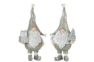 2er Set Zwerge Figur Winter Deko Silber Weiß Grau 21cm Weihnachten Dekoration