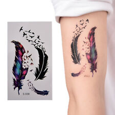 Large Feather Pattern Removable Waterproof Temporary Tattoo Body Art Stickers W&