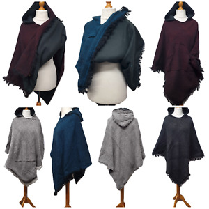 Unisex Poncho Fleece Lined Winter Cape Shawl Wrap Hooded Pocket Size M L XL XXL