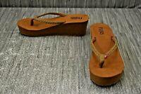 Flojos Hayley Braided Wedge Flip Flop Sandal - Women's Size 9/EU 40.5 - Brown