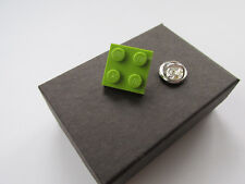 Handmade Lime Green Lego 2x2 Plate Brick - Tie Pin / Lapel Pin / Brooch