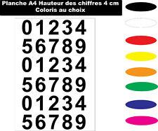 Sticker chiffres autocollant de 4 cm planche A4 Coloris au choix