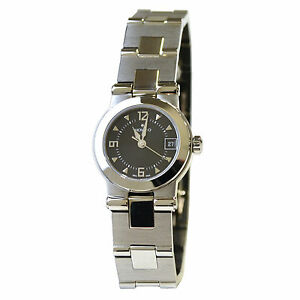 Movado Watch Bracelet Womens Vizio Stainless Steel Black Dial 1605697 New