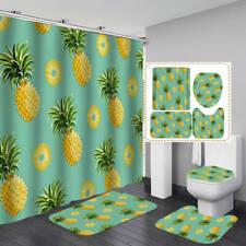 Yellow Pineapple Pattern Shower Curtain Bath Mat Toilet Cover Rug Bathroom Decor