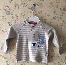 BNWT Disney Baby Unisex Mickey Mouse Cotton Grey Striped Jumper Top 0-3M