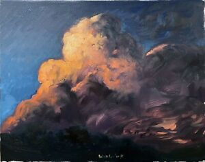 """Cloud Sunset Impressionism Oil Painting on 16""""x20"""" Canvas Original Signed"""