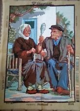 """NEEDLEPOINT PICTURE, OLD COUPLE, 30"""" X 23"""" INCHES, TOTAL CANVAS SIZE, DIAMANT"""