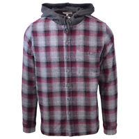Cherokee Men's Tottus Camisa Maroon & Gray Plaid Hooded L/S Flannel Shirt