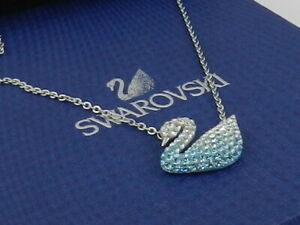 Swarovski Iconic Swan pendant Swan, Blue, Rhodium plated 5512095