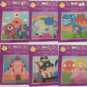 CHILDRENS KIDS LOCKDOWN CRAFT ACTIVITY TOY - FOAM MOSAIC ART - CHOICE OF 6
