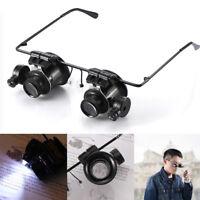 20X LED Lights Glasses Type Binocular Magnifier For Watch Repair Gem Appraisal