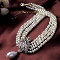Collier Multirang Chaine Perle Blanc Art Deco Pendantif Goutte Retro Class JD5