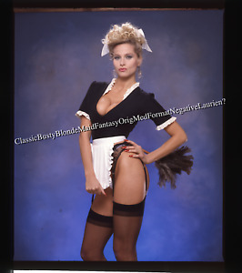 *Classic Busty Blonde Maid Glam Pin Up Orig Medium Format Slide Kodak Ektachrome
