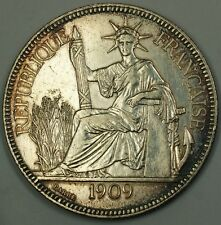 1909 A French Indochina Silver Crown Piastre Coin France