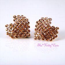 Rose Gold Plated Geometric Love Heart Huggie Stud Earrings w/ Swarovski Crystals