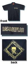 DAMAGEPLAN YELLOW CROSSBONES LOGO BLK WORK SHIRT MEDIUM NEW DIMEBAG PANTERA