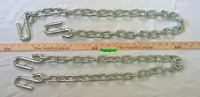 "2 Trailer Safety Chain 1/4"" 48"" Long with 7/16"" S-Hooks With Safeyt Clip 5,000lb"
