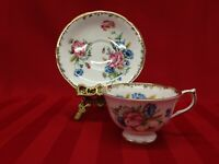Aynsley Vintage #30 Floral With Gold Laced Brim Bone China Tea Cup and Saucer