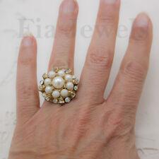 Anello perle cristalli austriaci cocktail tono oro vintage americano regolabile